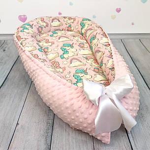 """Кокон-гнёздышко для новорожденного """"Pink Unicorns"""" с поролоновым матрасом, фото 2"""