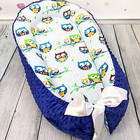 """Кокон-гнёздышко для новорожденного """"Owls in Blue"""" с поролоновым матрасом"""