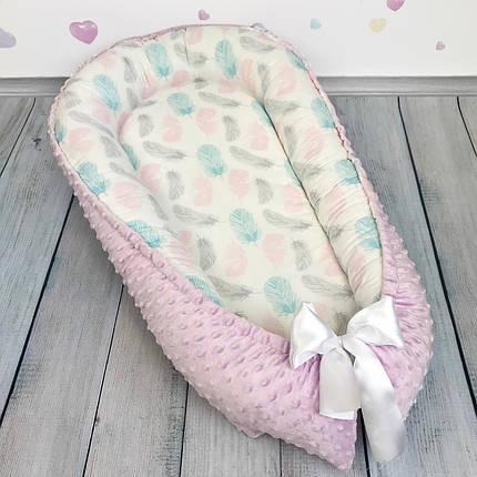 """Кокон-гнёздышко для новорожденного """"Нежные пёрышки"""" с поролоновым матрасом, фото 2"""