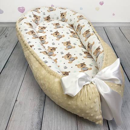 """Кокон-гнёздышко для новорожденного """"Мишки Teddy"""" с поролоновым матрасом, фото 2"""