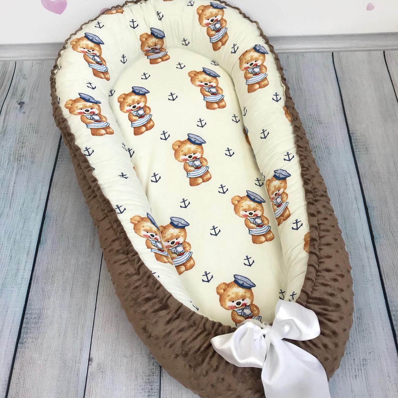 """Кокон-гнёздышко для новорожденного с кокосовым матрасом """"Коричневые Мишки"""""""