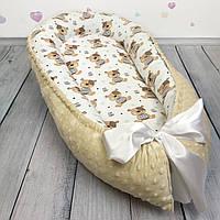 """Кокон-гнёздышко для новорожденного с кокосовым матрасом """"Мишки Teddy"""""""