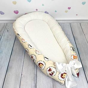 """Кокон-гнёздышко для новорожденного """"Зверята на бежевом"""" с поролоновым матрасом, фото 2"""