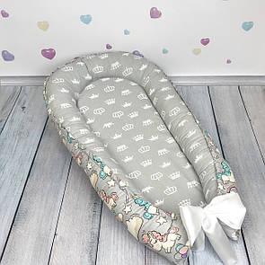 """Кокон-гнёздышко для новорожденного """"Unicorns"""" с поролоновым матрасом, фото 2"""
