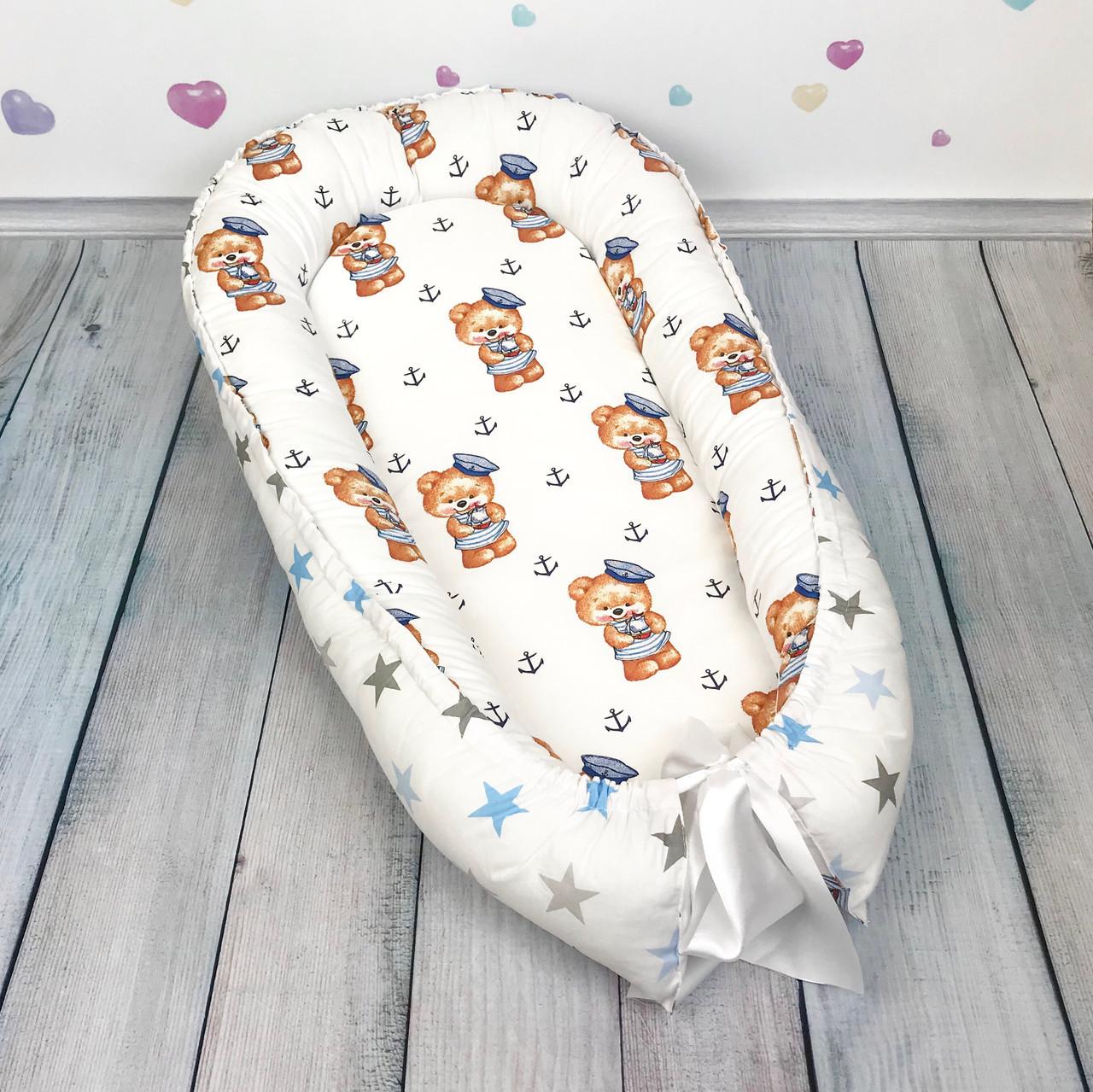 """Кокон-гнёздышко для новорожденного с кокосовым матрасом """"Мишки-Моряки"""""""