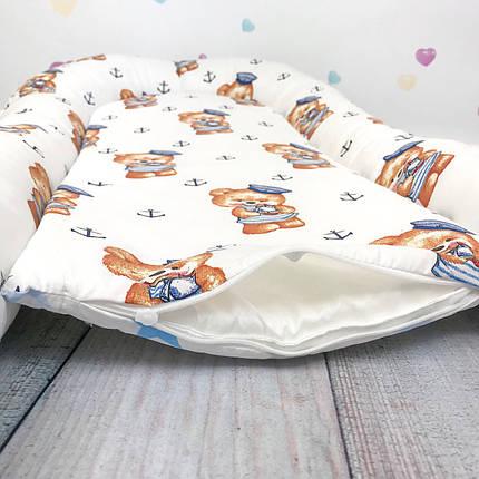 """Кокон-гнёздышко для новорожденного """"Мишки-Моряки"""" с поролоновым матрасом, фото 2"""