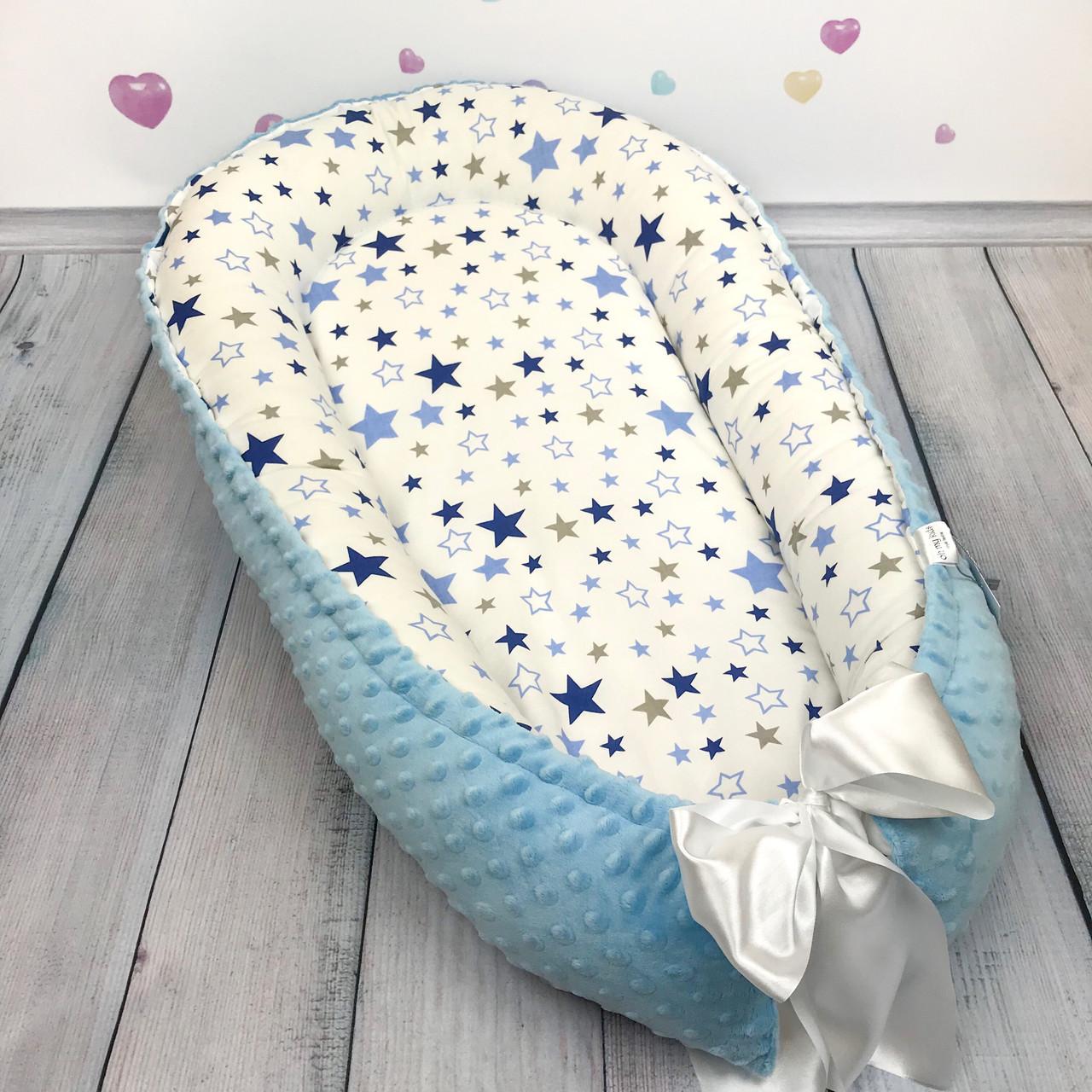 """Кокон-гнёздышко для новорожденного с кокосовым матрасом """"Голубой Звездопад"""""""