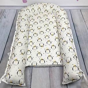 """Кокон-гнёздышко для новорожденного """"Penguins"""" с поролоновым матрасом, фото 2"""