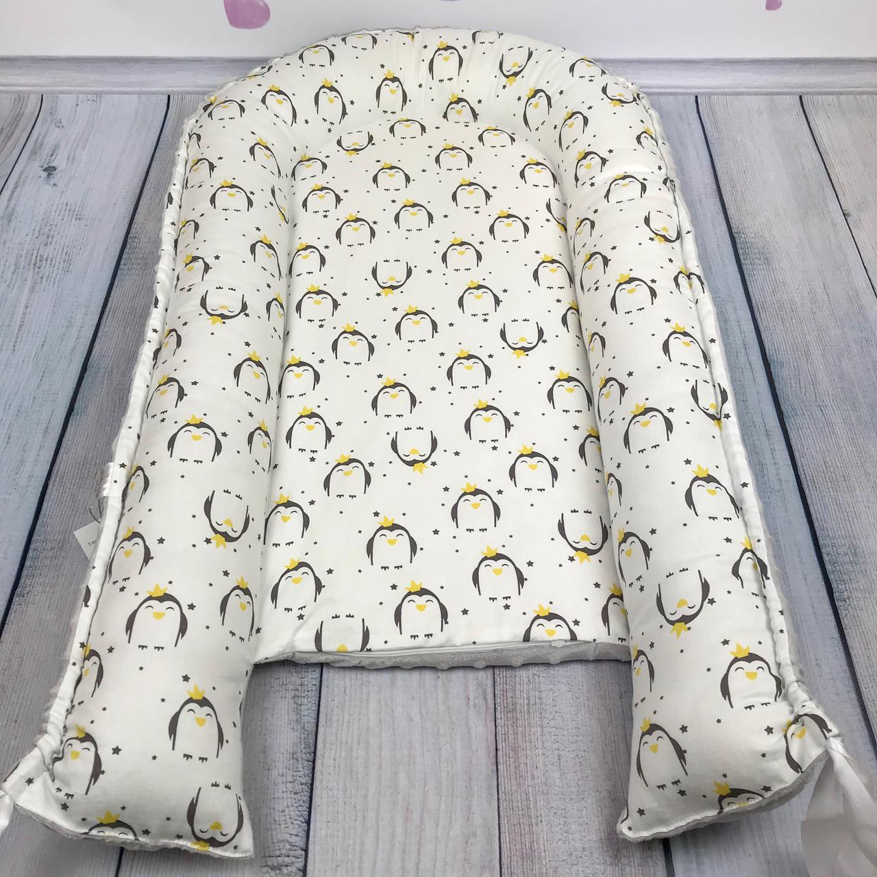 """Кокон-гнёздышко для новорожденного с кокосовым матрасом """"Pinguins"""""""