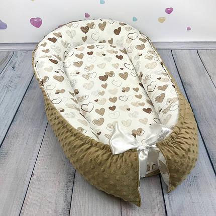 """Кокон-гнёздышко для новорожденного с кокосовым матрасом """"Коричневые Сердечки"""", фото 2"""