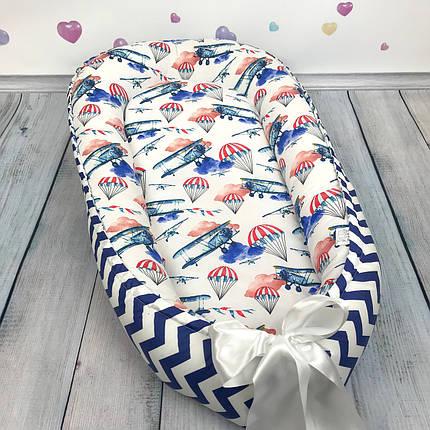 """Кокон-гнёздышко для новорожденного с кокосовым матрасом """"Самолёты в облаках"""", фото 2"""
