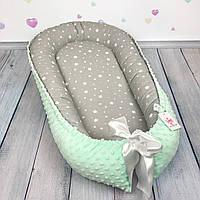 """Кокон-гнёздышко для новорожденного """"Starfall & Mint"""" с поролоновым матрасом"""