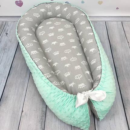 """Кокон-гнёздышко для новорожденного с кокосовым матрасом """"Маленькие Коронки"""", фото 2"""