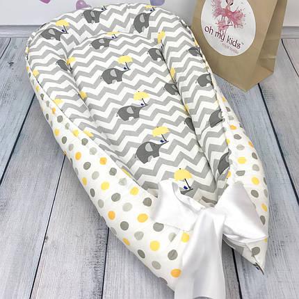 """Кокон-гнёздышко для новорожденного """"Слоники"""" с поролоновым матрасом, фото 2"""