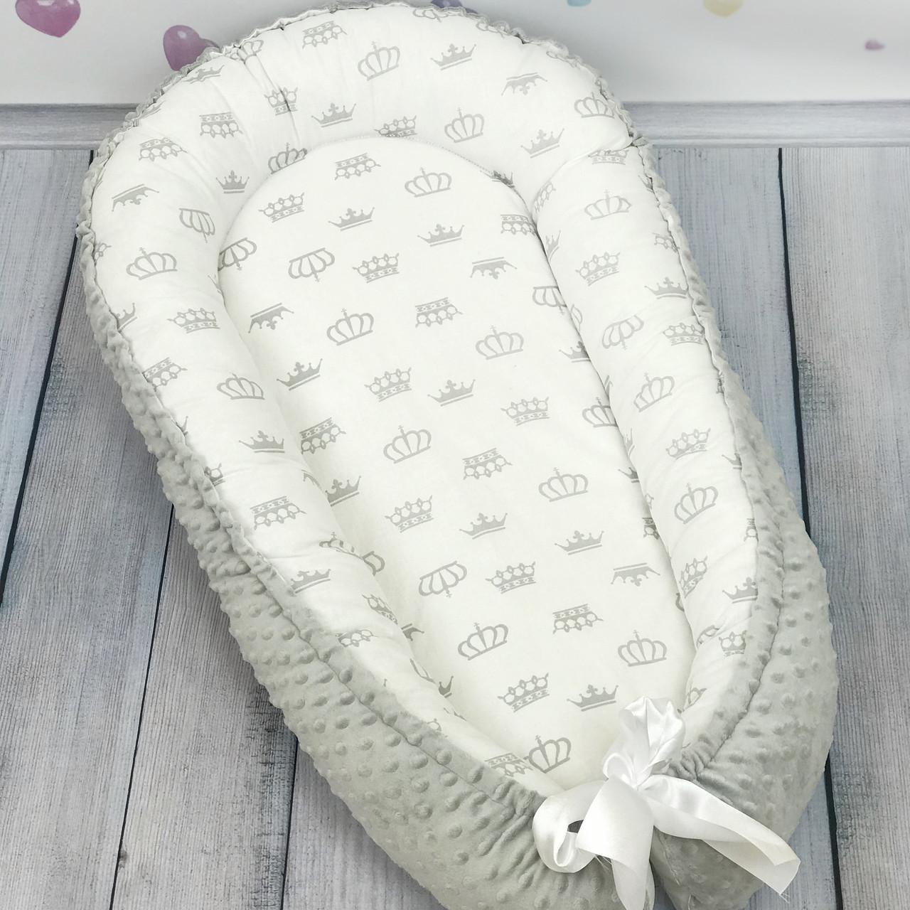 """Кокон-гнёздышко для новорожденного """"Simple Gray"""" с поролоновым матрасом"""