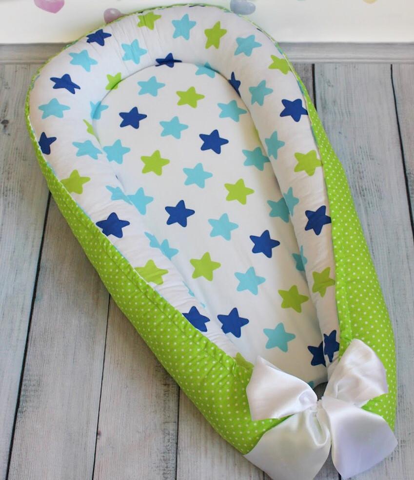 """Кокон-гнёздышко для новорожденного """"All Stars"""" с поролоновым матрасом"""