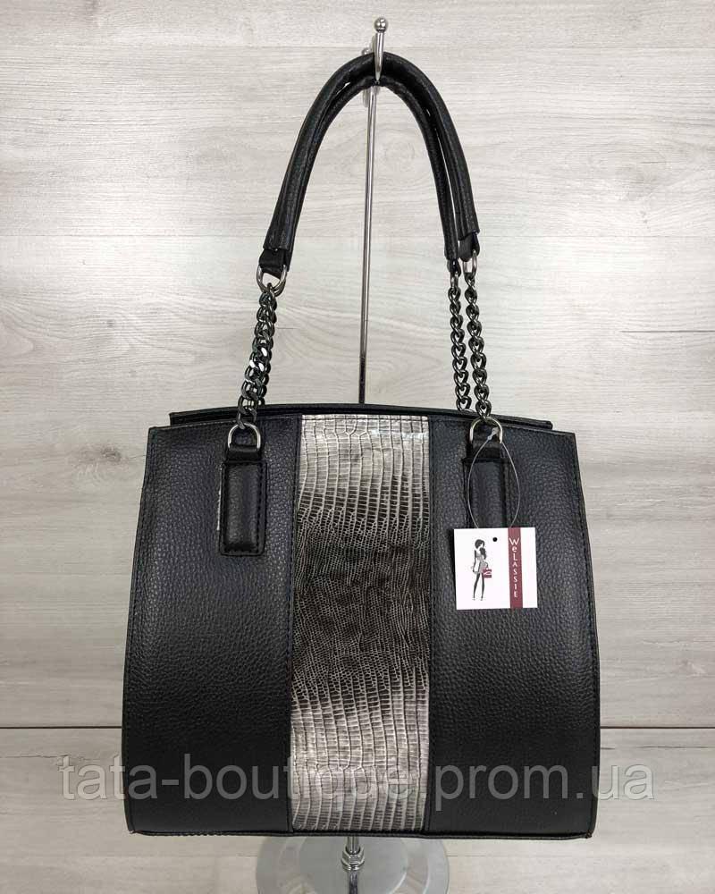 415701ae9ed9 Каркасная женская сумка Адела черного цвета со вставкой серый лак ...