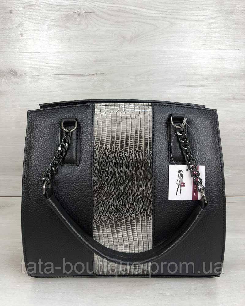 d9f1722dfbfd Каркасная женская сумка Адела черного цвета со вставкой серый лак, ...