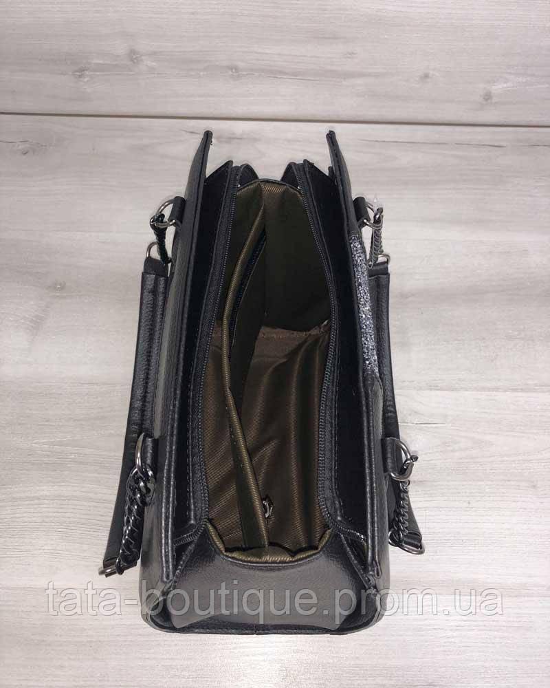 be627f59ae6b ... Каркасная женская сумка Адела черного цвета со вставкой серый лак, фото  5