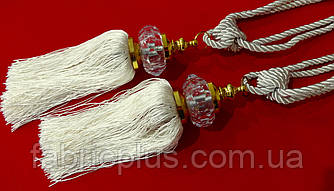 Кисти - подхваты для штор 55 см белое серебро