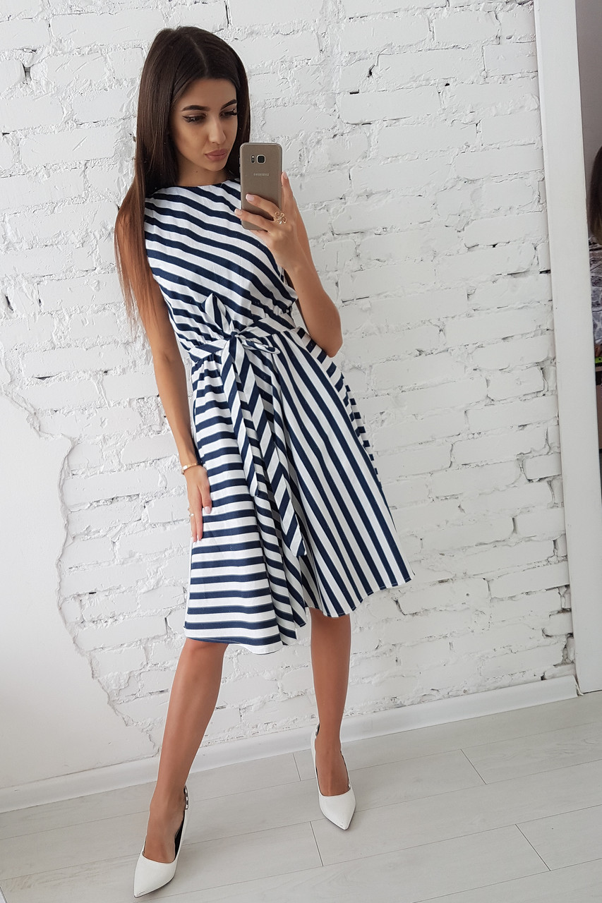 8932d53ed79 Платье миди в полоску без рукавов приталенное поясом - Одессика - интернет  магазин для всей семьи