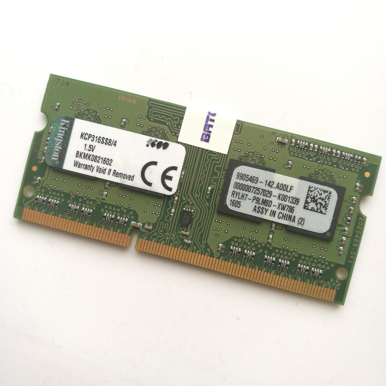 Оперативная память для ноутбука Kingston SODIMM DDR3 4Gb 1600MHz 12800s CL11 (KCP316SS8/4) Б/У
