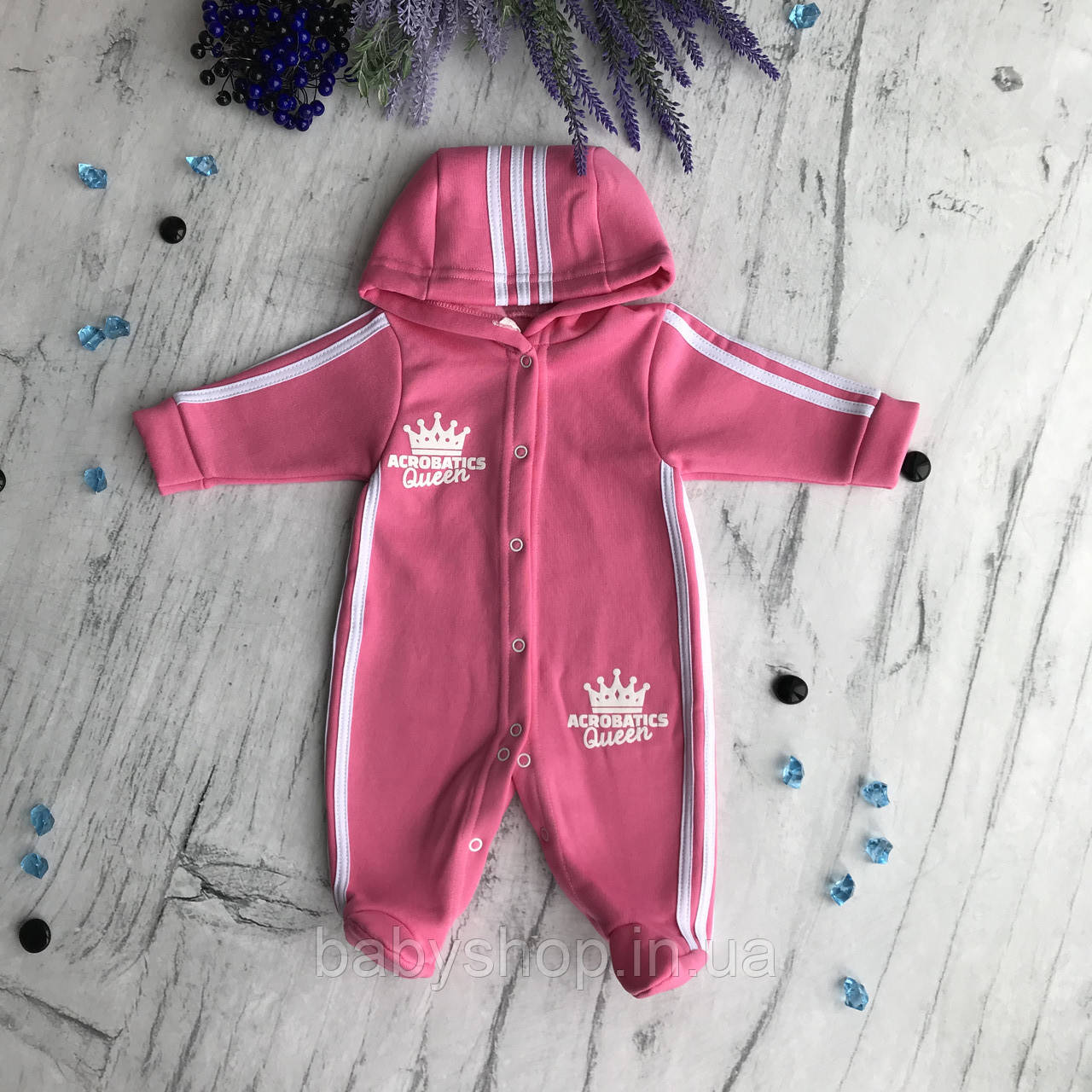 Теплый комбинезон для девочки 2. Размер 62 см розовый