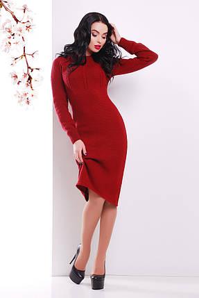 Жіноча в'язана сукня нижче колін бордове, фото 2