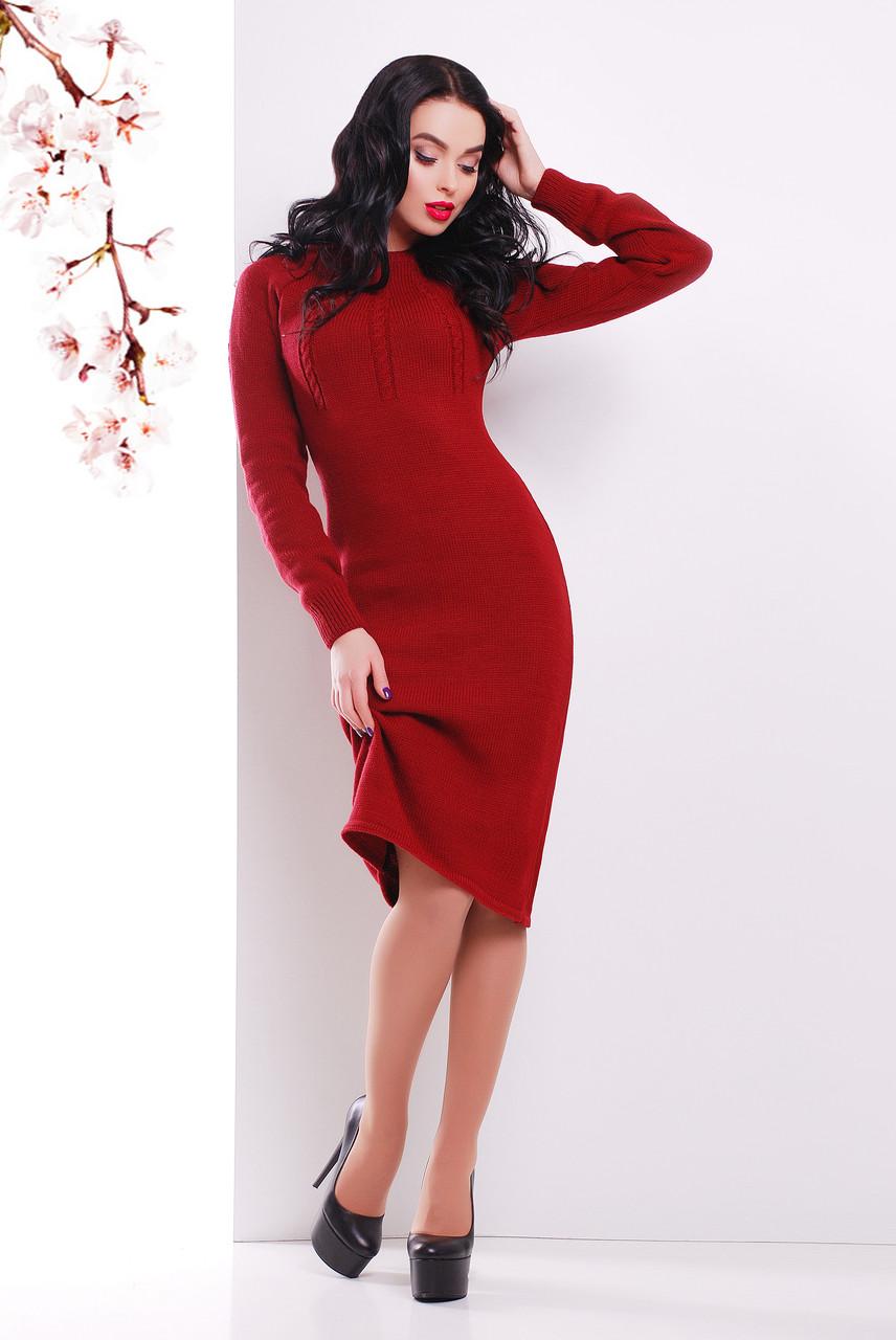 Жіноча в'язана сукня нижче колін бордове