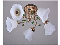 Шикарная люстра на пять плафона с основанием золото Valeso
