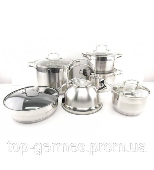 Набор кастрюль+чайник нержавейка 12 предметов, пятислойное капсульное дно