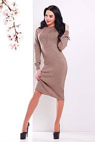 Жіноча в'язана сукня нижче колін кольору кави