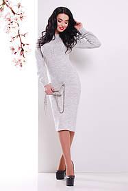 Жіноча в'язана сукня нижче колін світло сіра