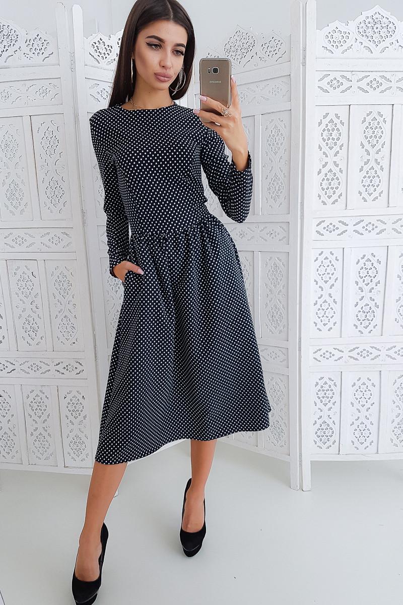 a2449ea24de Черное приталенное платье в горошек с длинным рукавом - Одессика - интернет  магазин для всей семьи