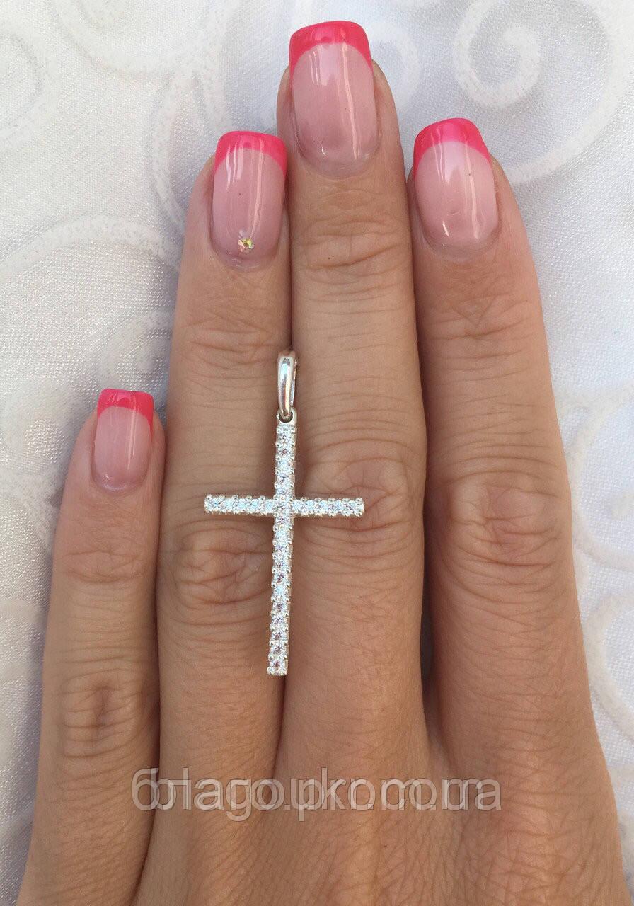 Серебряный крестик 925 пробы с камнями женский