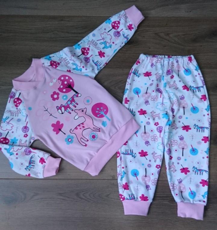 Розовая пижама для девочки с красочным рисунком 92-130  р, детские пижамы оптом от производителя