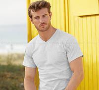 Мужская футболка с  V-вырезом 100% хлопок