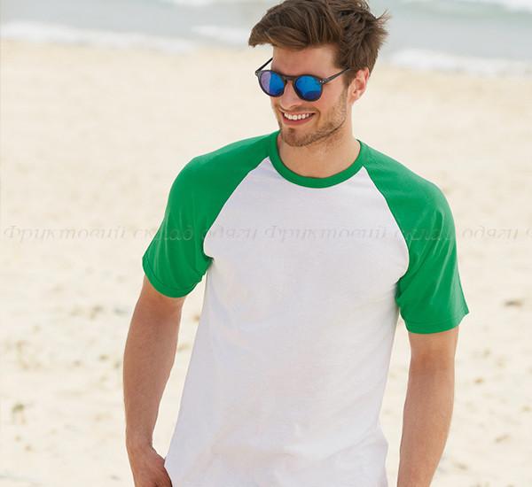 Мужская футболка двухцветная приталенная  100% хлопок