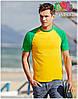 Мужская футболка двухцветная приталенная  100% хлопок, фото 3