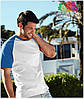 Мужская футболка двухцветная приталенная  100% хлопок, фото 6
