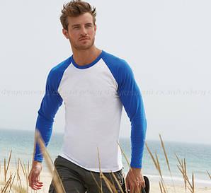 Мужская футболка двухцветная с длинным рукавом  100% хлопок