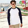 Мужская футболка двухцветная с длинным рукавом  100% хлопок, фото 5