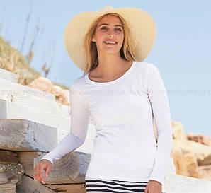Женская футболка с длинным рукавом приталенная 100% хлопок
