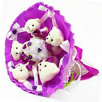 Букет из игрушек Мишки 5 сиреневый 5291IT