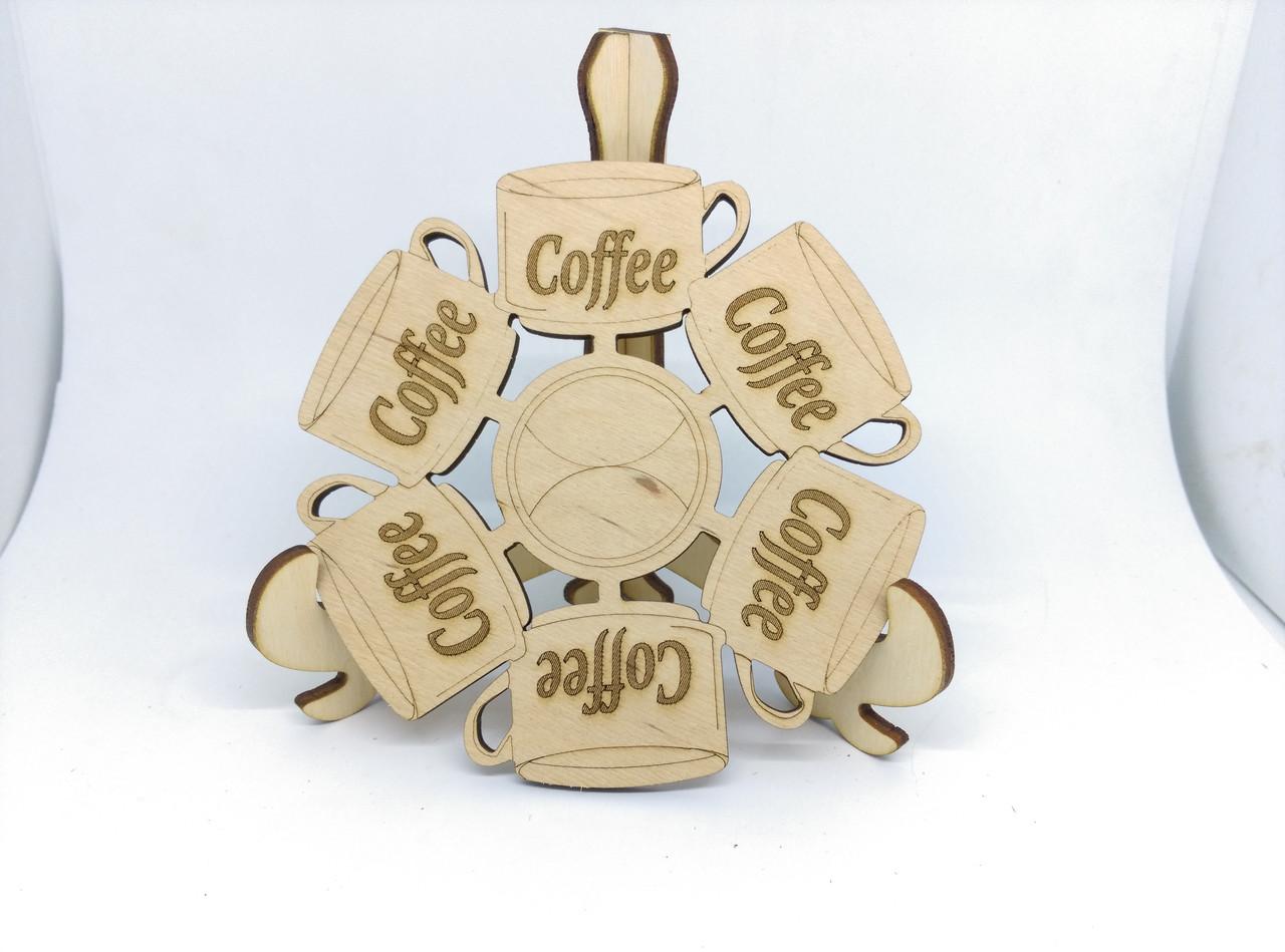Подставка под горячее деревянная Coffe