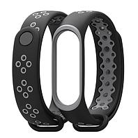 Ремешок MiJobs Sport для Xiaomi Mi Band 3 Black / Gray (Черный / Серый)
