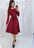 eebc44bbc31 Бордовое приталенное платье миди в полоску с длинным рукавом