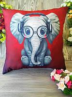 Подушка слон в наушниках, 45 * 45 см