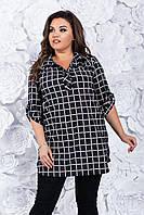 Женская блузка Клетка .52,54, 56, 58, 60, 62рр Черная софт-котон., фото 1