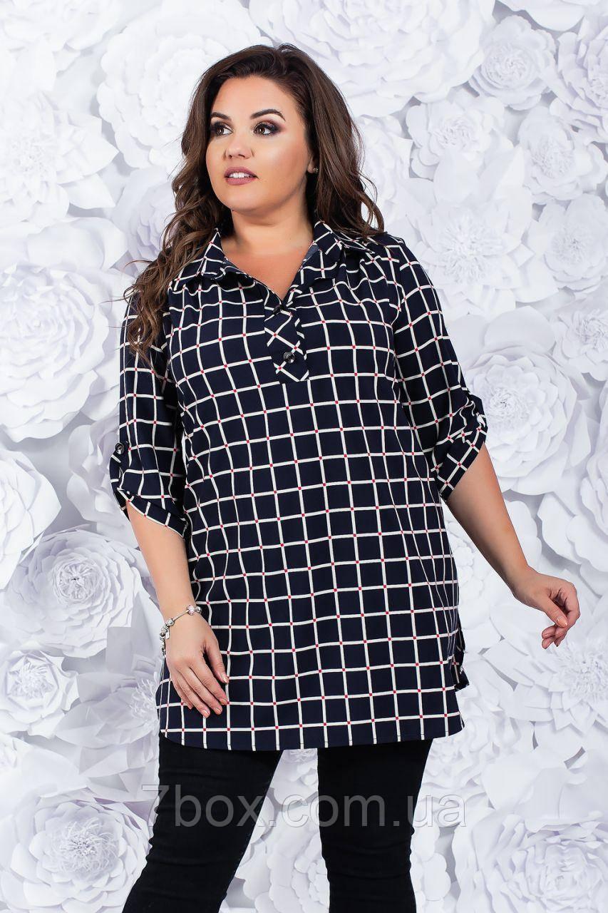 Женская блузка Клетка .52,54, 56, 58, 60, 62рр Черная софт-котон.
